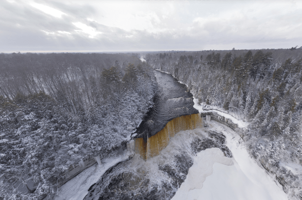 Fall Moving Wallpaper Tahquamenon Falls Aerial Panorama Proves Beauty Of