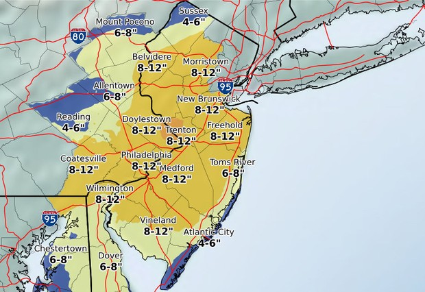 NJ weather update Foot of snow now possible as Wednesday storm