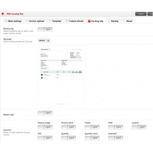 OpenCart - PDF Invoice Pro - product invoice