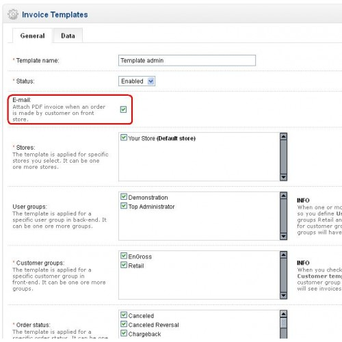OpenCart - Custom invoice template DOCX - custom made invoices