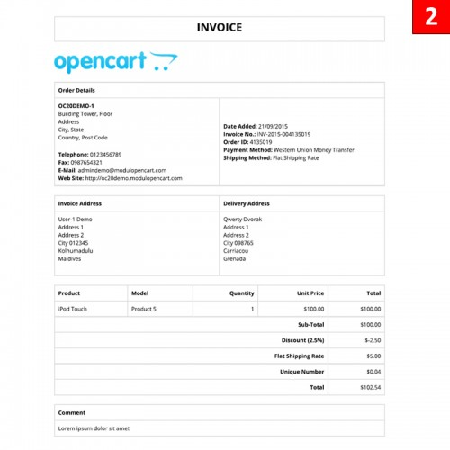 OpenCart - Free 9 Invoice Layout Template