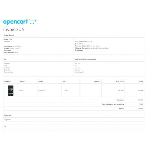 OpenCart - Custom Invoice Options