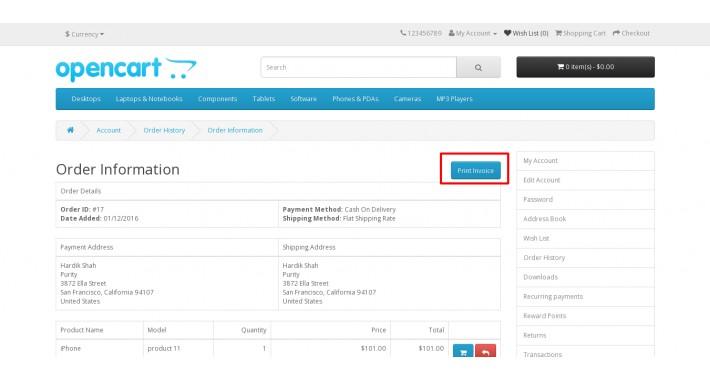 OpenCart - Customer Print Invoice - print invoice