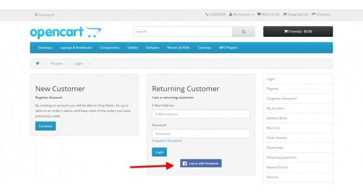 OpenCart - FREE Facebook Login Extension