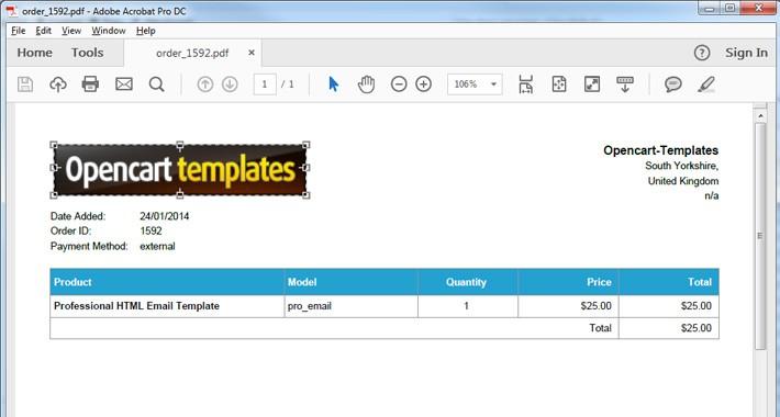 OpenCart - PDF Invoice