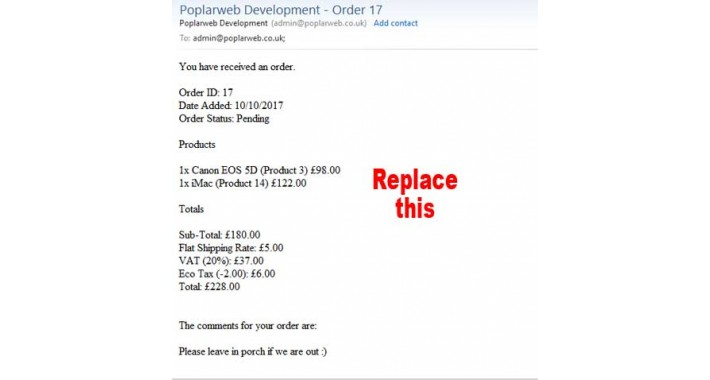 New order email notification template - OpenCart Community - shipping information template