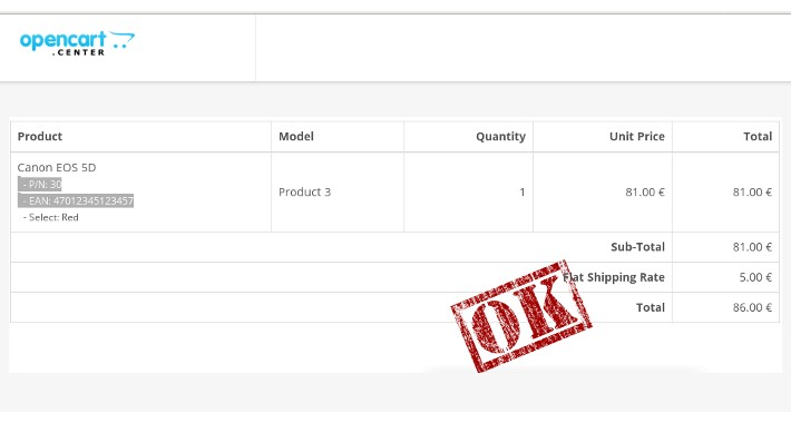 OpenCart - Sales order - Invoice with product numbers - product invoice