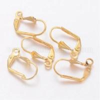 Wholesale Brass Leverback Earring Findings, 16x9x5mm, Hole ...