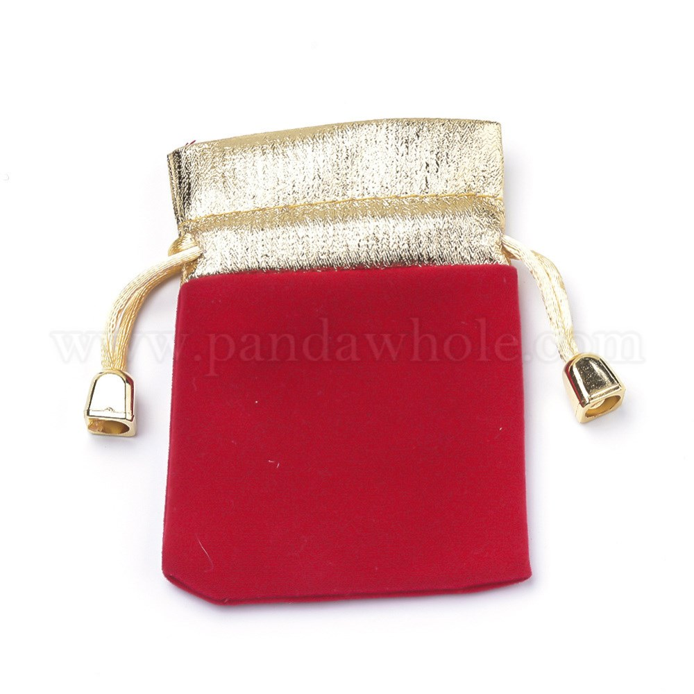 Wholesale Velvet Jewelry Pouches Velvet Jewelry Packing Pouches Drawstring Bags With Nylon Cord Rectangle