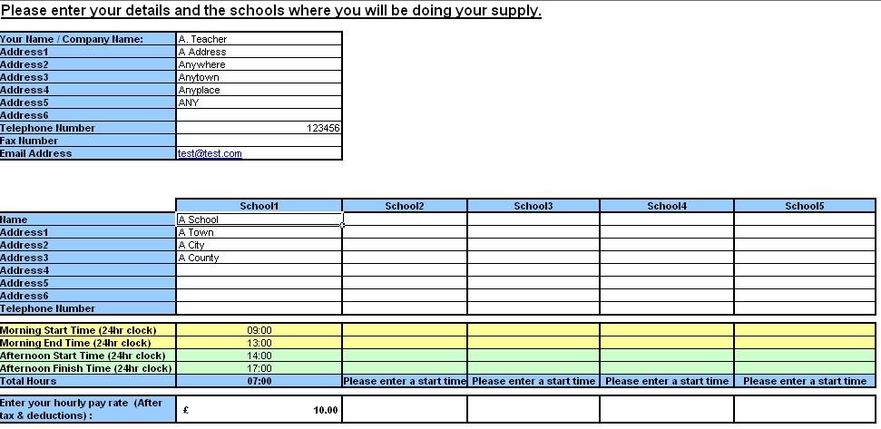 Teacher Resource Supply Teacher TimeSheet and Invoice Generator