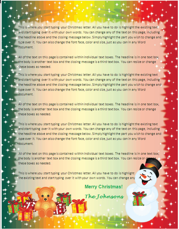 Family Christmas Letter Paper - Snowman Gifts Other Files - microsoft word christmas letter template