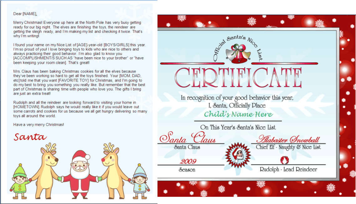 Printable Santa Letter and Nice List Certificate - Santa and Friends - christmas letter templates