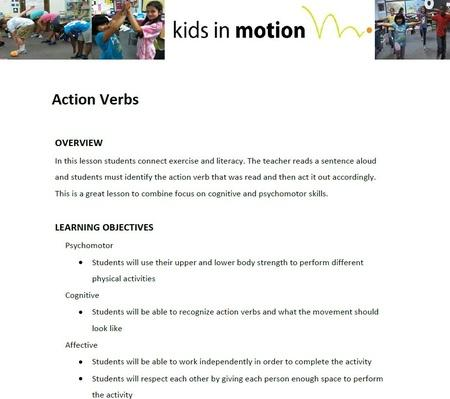 Action Verbs Lesson Plan PBS LearningMedia