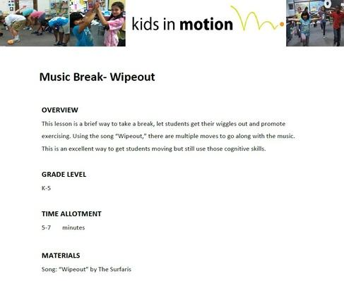 Music Break- Waving Flag Lesson Plan Health and Physical Education