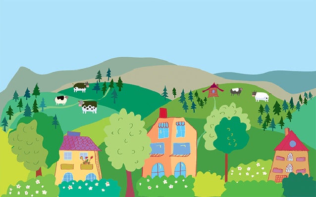 Cartoon Images Fall Wallpaper Landscape With Mountain Hills Cows Trees Village