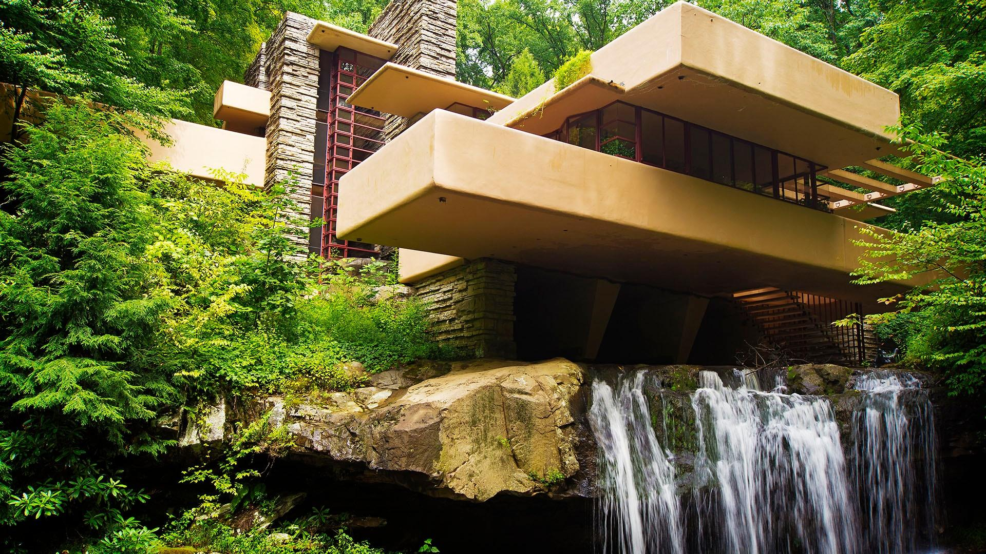 Frank Lloyd Wright Falling Water Wallpaper Video Homes Fallingwater Mill Run Pa Watch 10 That