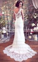 Trumpet/Mermaid Court Train Lace Flower(s) V-neck Wedding Dresses #PWD00021351