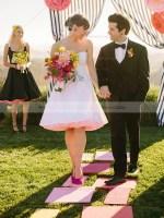 A-line Knee-length Tulle Taffeta Sweetheart Wedding Dresses #PWD00021449