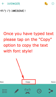 Tap on Copy to copy text with font style!