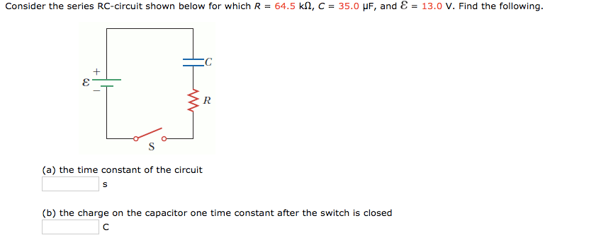 consider the series rccircuit shown below for cheggcom