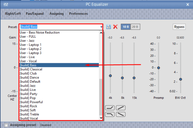 Changing Equalizer in Windows 10