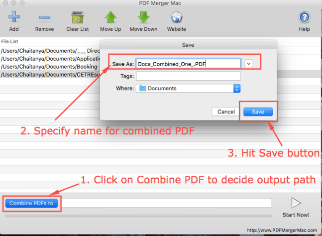 Combine PDFs to Option for PDF Merge Mac