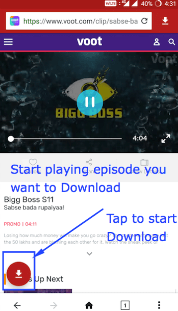 Big Boss Episode Download from Voot Android