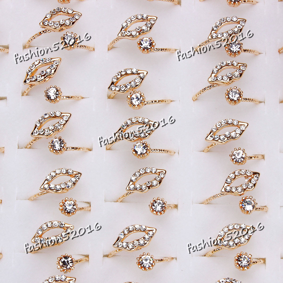 Wholesale Jewelry Gold Filled Wholesale 20 100ps Exquisite Lip Crystal Rhinestone Gold