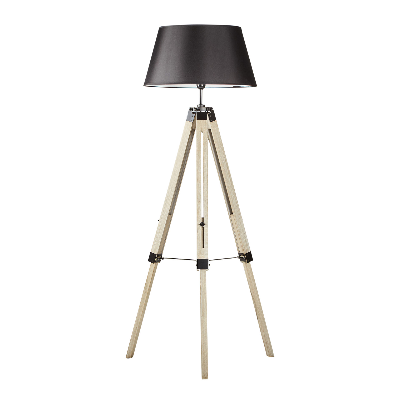 Designer Tripod Floor Lamp Black Linen Shade Home 150cm H Adjustable Wooden Ebay