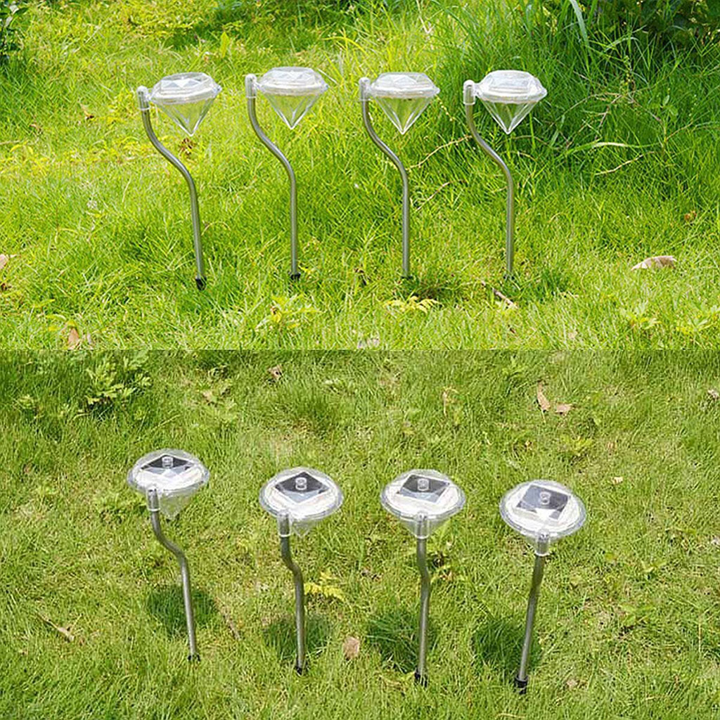 Outdoor Solar Garden Lights Led Diamond Solar Power Garden Yard Light Rgb White