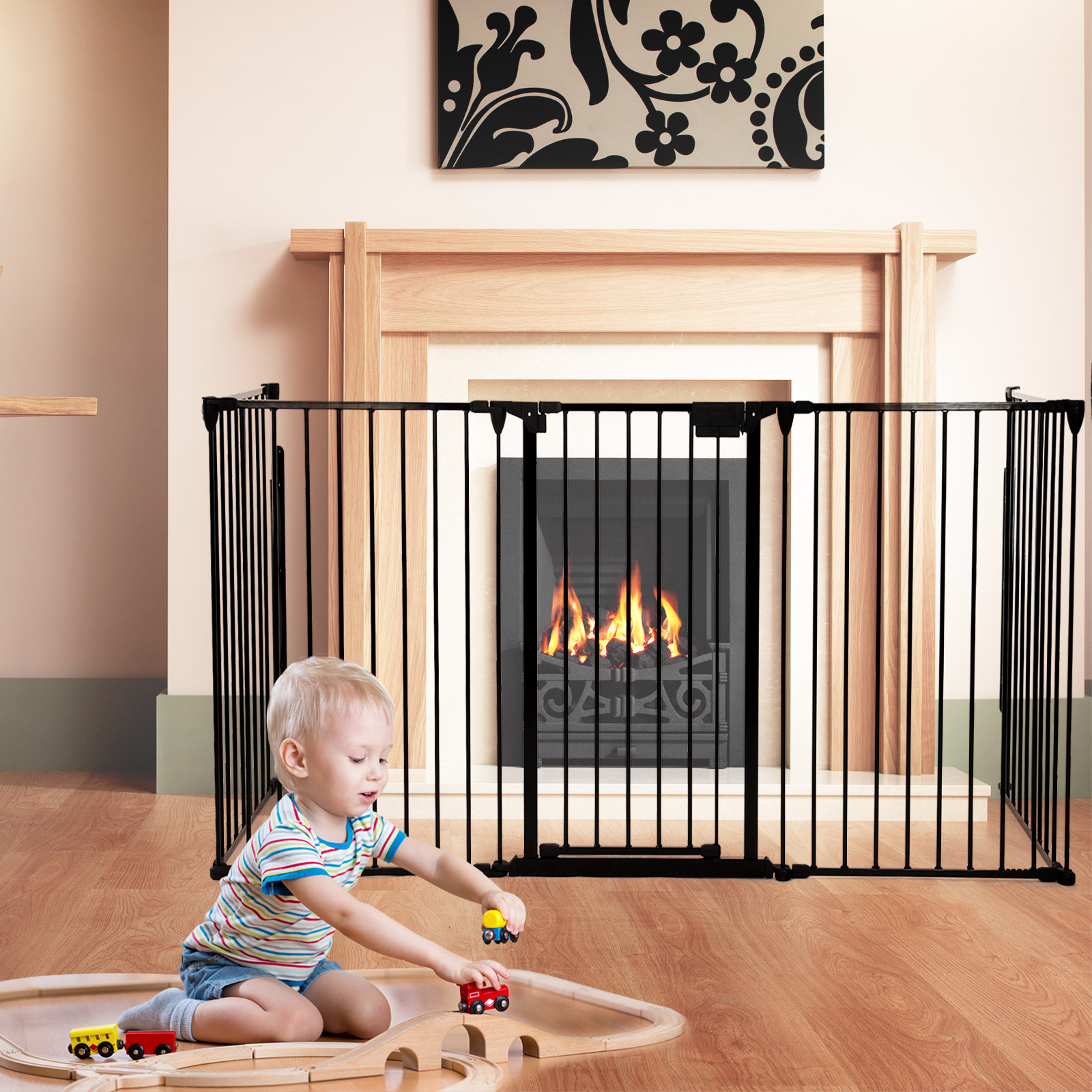 Fireplace Safety Screen Child Guard Fireplace Fence Baby Safety Fence Hearth Gate Pet Gate Guard Metal