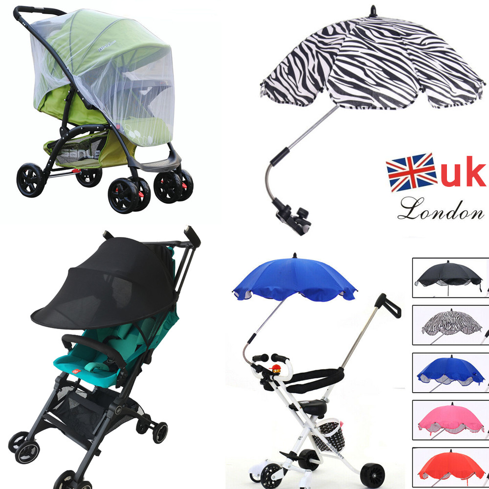 Baby Pram Umbrella Details About Baby Pushchair Stroller Parasol Sun Shade Umbrella Pram Buggy Insect Mesh Cover