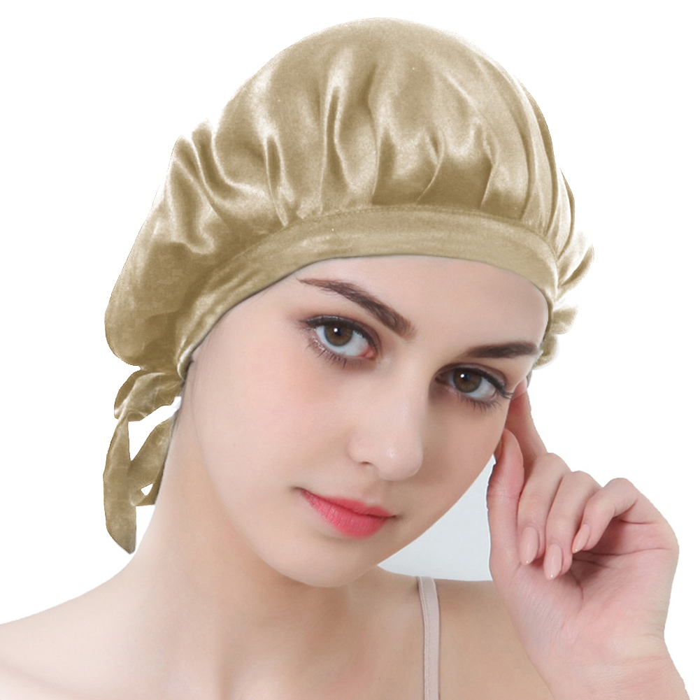 Bonnet Satin 100% Mulberry Silk Sleeping Hat Lady Hair Care Chemo Wrap
