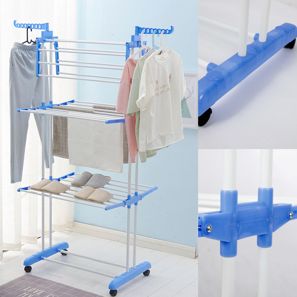 Cloth Hanger Stand Details About 3 Tier Stainless Laundry Organizer Folding Drying Rack Cloth Hanger Dryer Stand