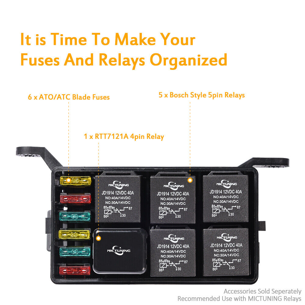 automotive fuse box with relay