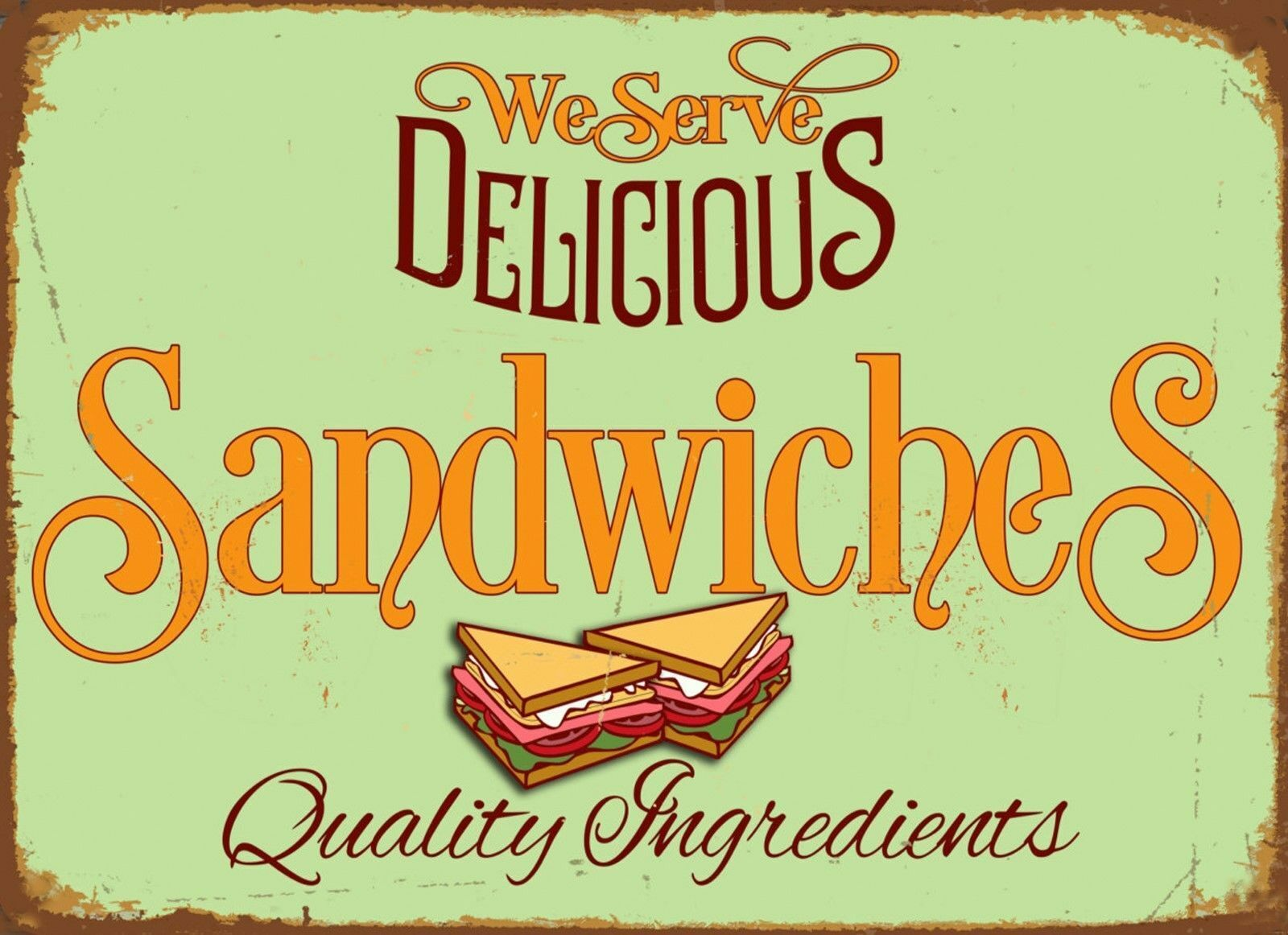 Poster Küche Retro Delicious Sandwiches Poster Metal Tin Signs Retro Plate Kitchen