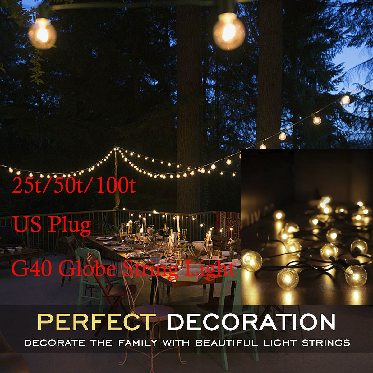 Outdoor Party Lights Details About 25 50 100 Bulbs G40 Filament Outdoor Patio Globe String Lights Party Light