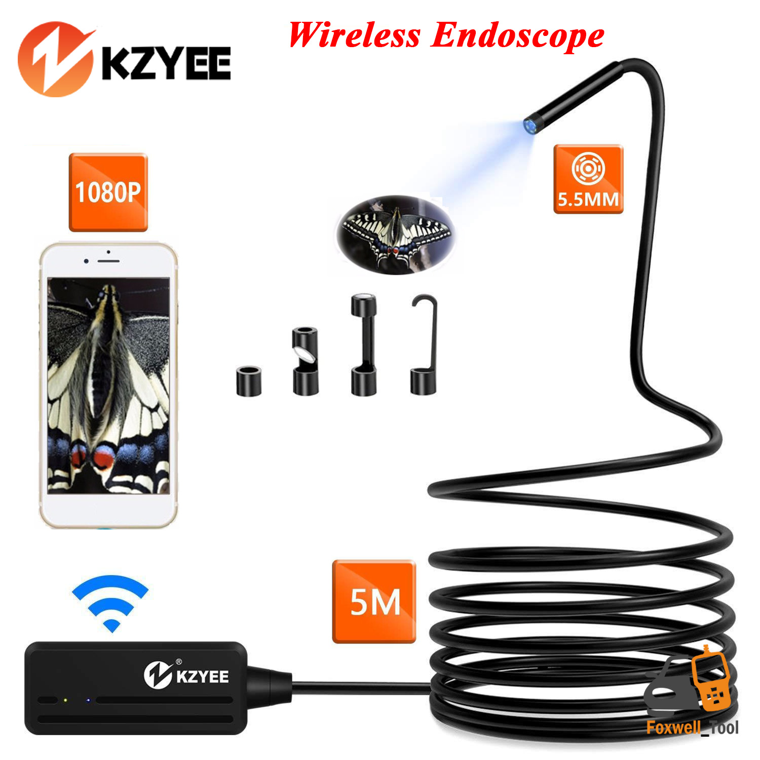 Wireless Inspection Camera Details About Kzyee 5m Semi Rigid Cable Wireless Endoscope Inspection Camera Wifi Android Ios