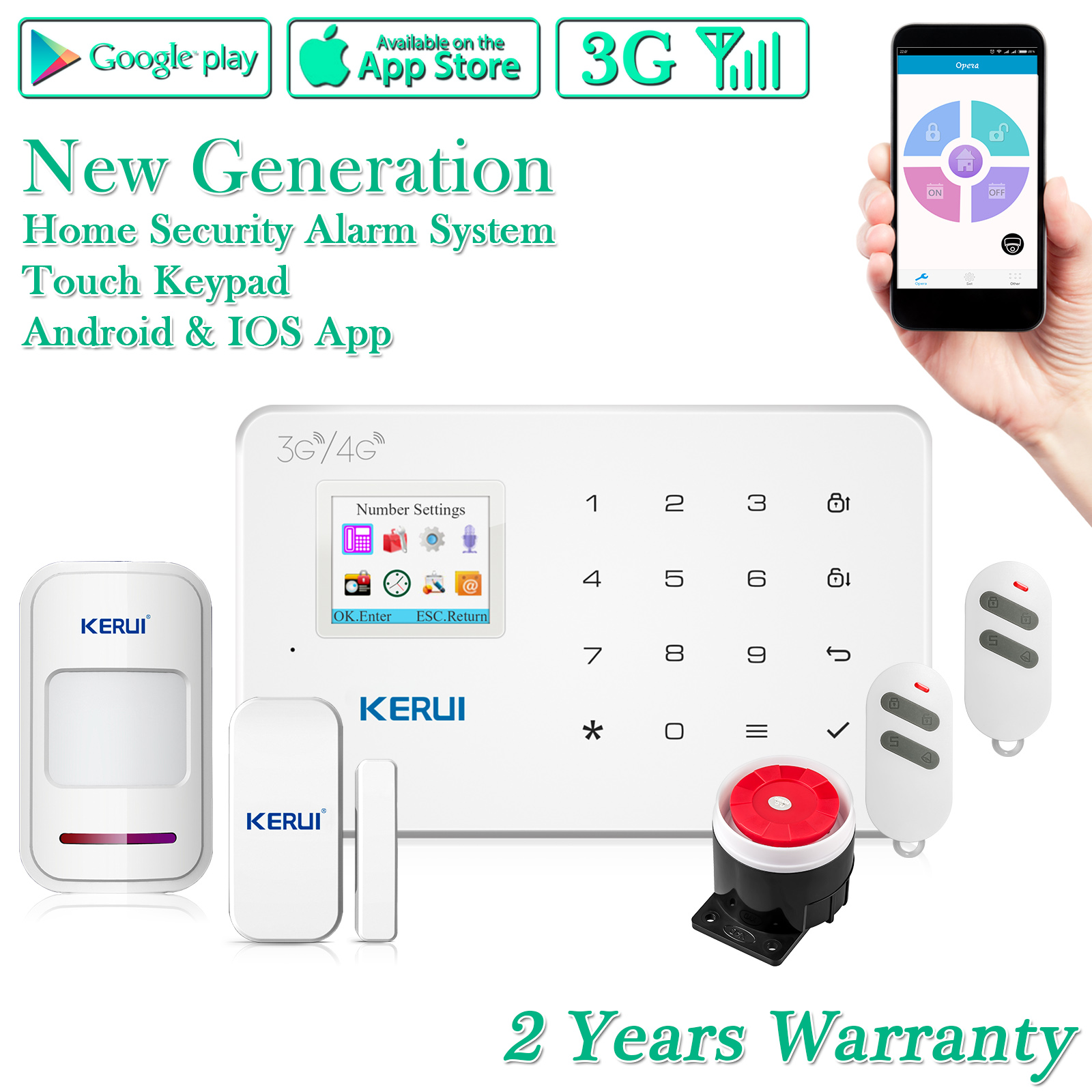 Easy To Install App Remote Control And No Monthly Fees Kerui 3g Gsm G183 Alarm System Wireless Wcdma Diy Home And Business Security Burglar System Auto Dial Kit Home Security Systems Electronics