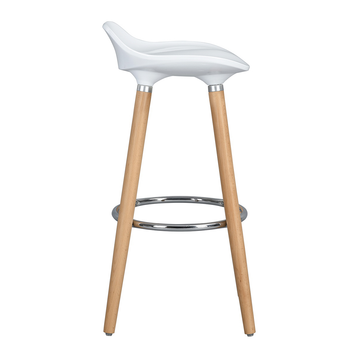 Tabouret Bar Plastique Lot De 2 Tabourets De Bar Plastique Brillant Blanc Pieds