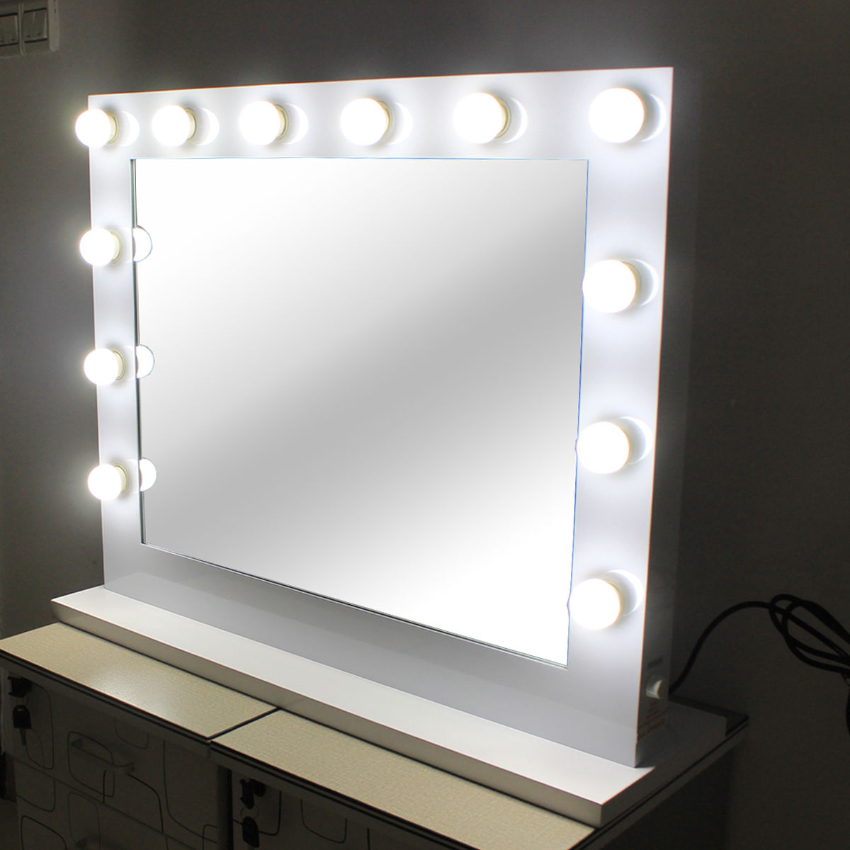 Badezimmerspiegel Theater Hollywood Lighted Makeup Vanity Mirror Aluminum Dimmer