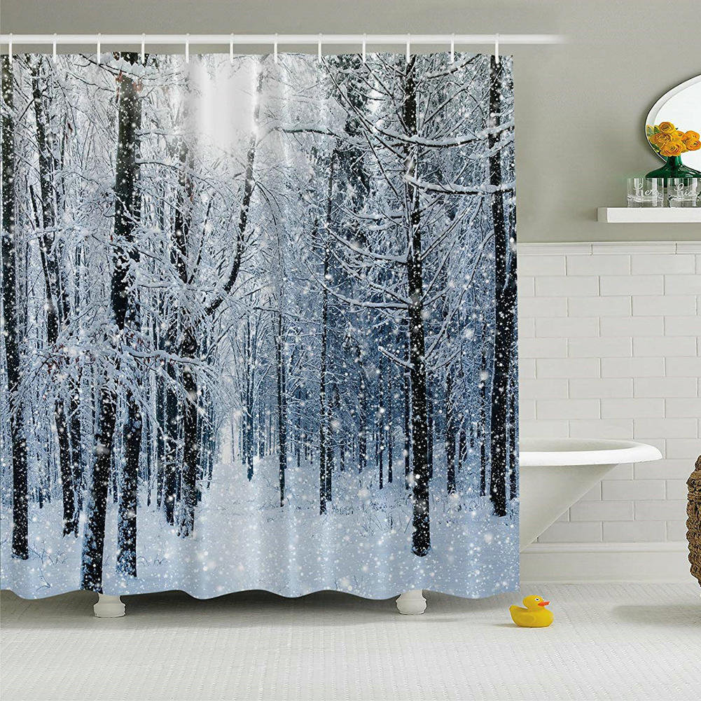 82 Shower Curtain Details About 72 X 72in Forest Shower Curtain Winter Snow On Trees Bath Curtains Decor Set