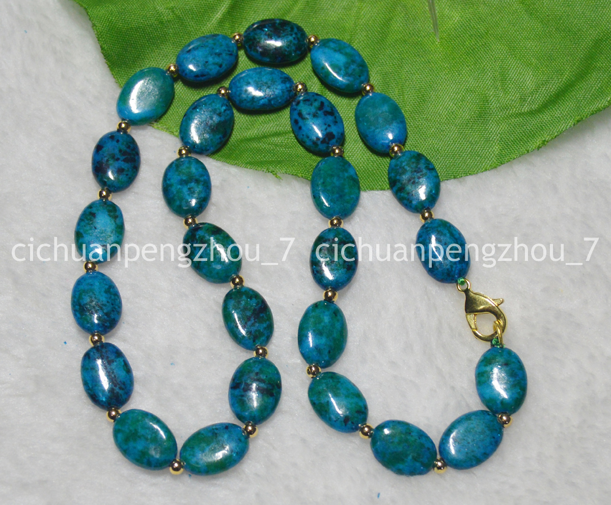 Schmuck Anhaenger 13x18mm Azurite Gemstone Phoenix Stone Oval Gemstone Beads Necklaces 17 20 24