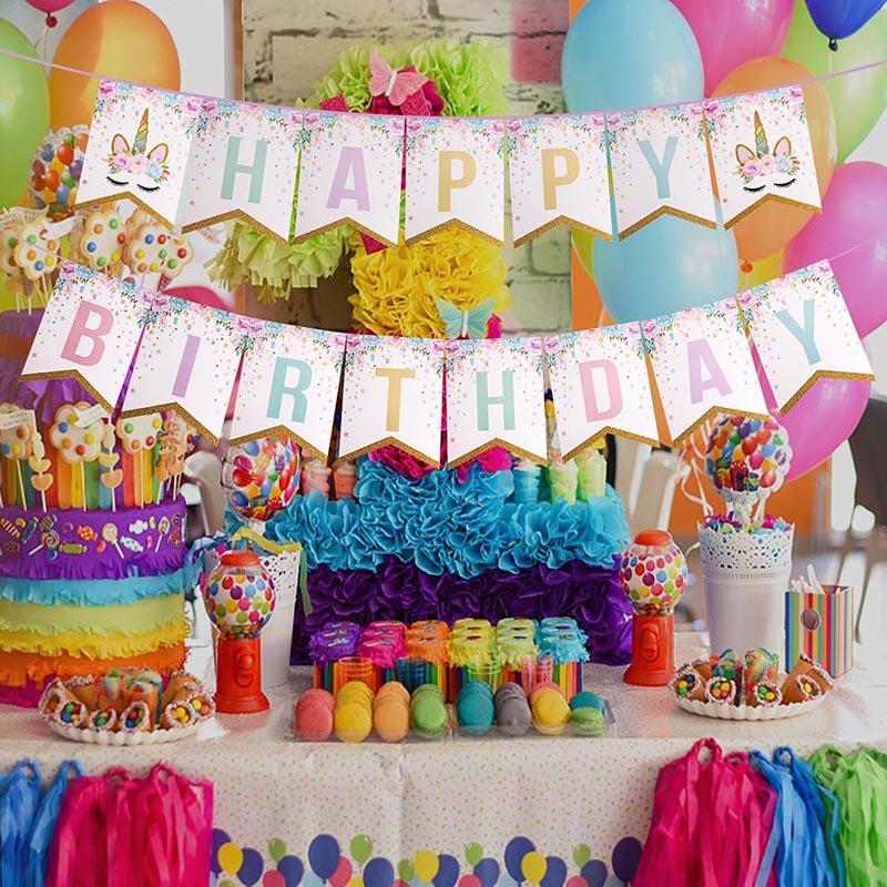 Unicorn Garlands Banners Cupcake Topper Happy Birthday Banner