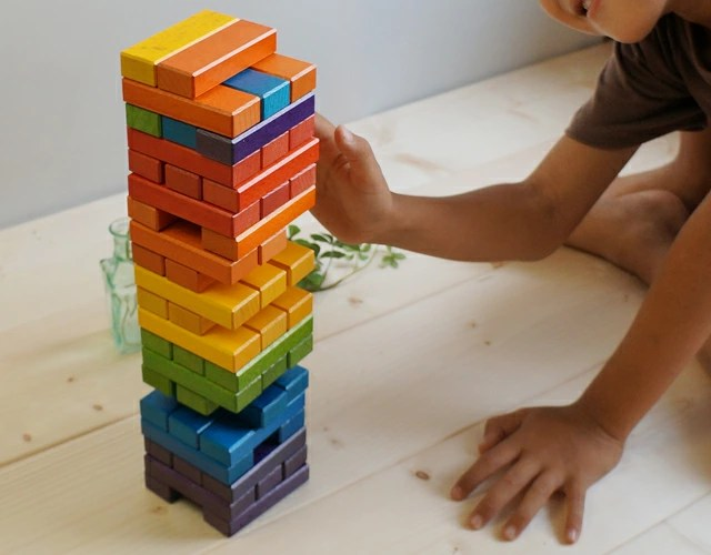 Wil Wood Rainbow Jenga Only Wooden Boxes With Stylish