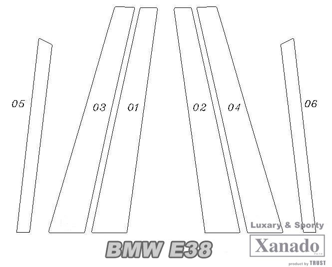 JACKPARTS E38 7 series pillar BMW E38 series stainless steel
