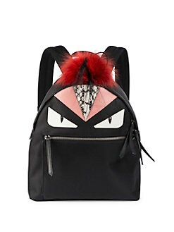 Fendi - Monster Nylon, Leather & Fur Backpack