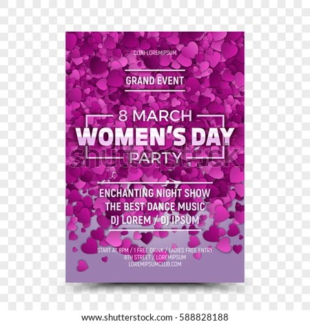 Happy Women\u0027s Day Vector Flyer Design Template Night Party with 3D