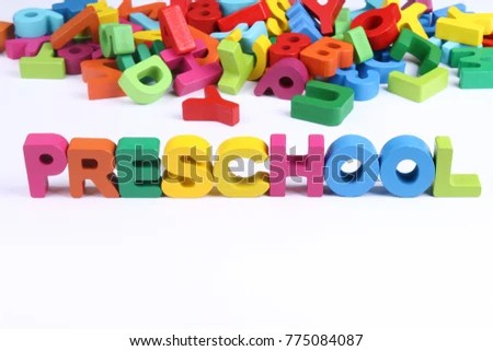 Preschool word block with assorted alphabets and letters in - word alphabets