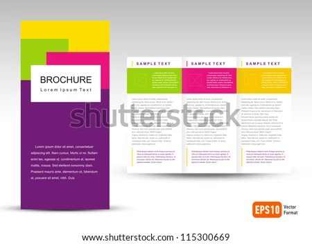 Vector Brochure Tri-fold Layout Design Template by photovs, via - free bi fold brochure template word